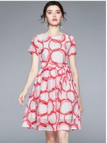 Summer Fashion Tie Waist Circles Short Sleeve Dress
