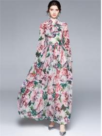 Bohemia New High Waist Tie Collar Flowers Maxi Dress