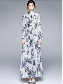 Retro Charming High Waist Ink Flowers Chiffon Long Dress