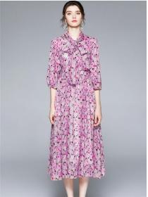 Wholesale Europe High Waist Tie Collar Flowers Long Dress