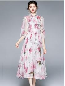 Women Fashion Tie Collar Flowers Chiffon Maxi Dress