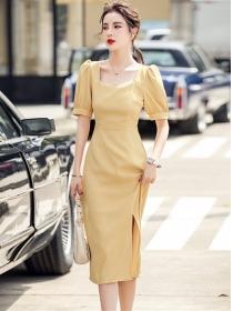 Retro Fashion Square Collar Puff Sleeve Bodycon Dress