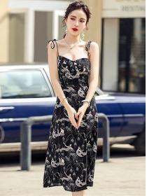 Retro Hot Selling Lady Printings Straps Split Dress