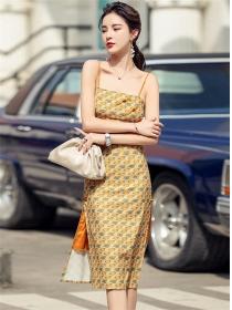 Wholesale Stylish Color Block Plaids Straps Slim Dress