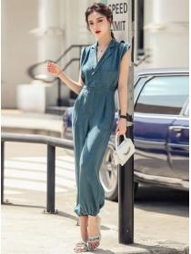 Retro Fashion Tailored Collar High Waist Long Jumpsuits