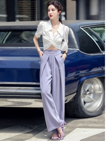 Sexy OL Twisted Waist Short Blouse with Wide-leg Long Pants