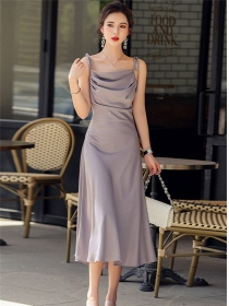 Vogue Lady 3 Colors Pleated High Waist Straps Dress