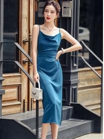 Fashion Wholesale Heaps Collar Straps Split Bodycon Dress