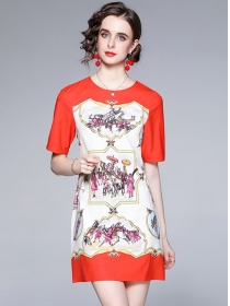 Wholesale Europe Round Neck Printings A-line Dress