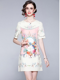 Wholesale Summer Flowers Short Sleeve A-line Dress