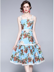 Charming Europe Lace Splicing Flowers Straps A-line Dress