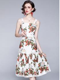 Wholesale Stylish Flowers Lace Straps A-line Dress