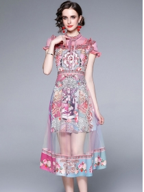 Grace Lady High Waist Flowers Splicing Gauze Long Dress