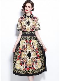 Retro Europe High Waist Plaids Flowers Short Sleeve Dress