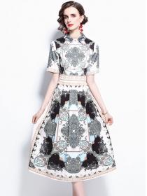 Summer Fashion Shirt Collar High Waist Flowers Dress