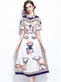 Hot Selling Shirt Collar High Waist Flowers Long Dress