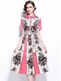 Wholesale Europe Tie Waist Shirt Collar Flowers Long Dress