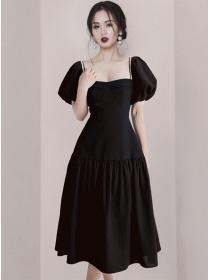 Modern Lady High Waist Square Collar Puff Sleeve Dress