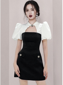Quality OL Puff Sleeve Splicing Slim A-line Dress