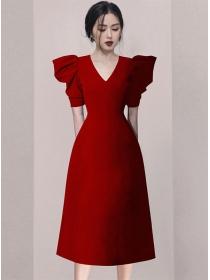 Retro Grace 2 Colors V-neck Puff Sleeve Long Dress