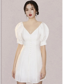 Modern OL 2 Colors Single-breasted V-neck Puff Sleeve Dress