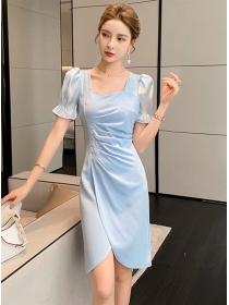 Elegant Lady Square Collar Pleated Split Slim Dress