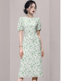 Pretty Women High Waist Mini Flowers Puff Sleeve Dress