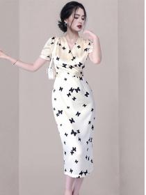 Grace Lady Tie Waist V-neck Butterfly Slim Long Dress