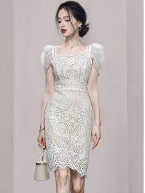 Retro Wholesale Square Collar Puff Sleeve Lace Dress