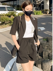 Casual Fashion Tailored Collar Jacket with Short Pants