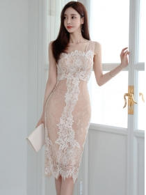 Summer Fashion Lace Flowers Bodycon Straps Dress