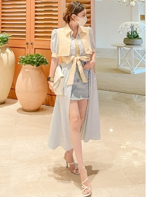 Fashion New Color Block Single-breasted Stripes Long Dress