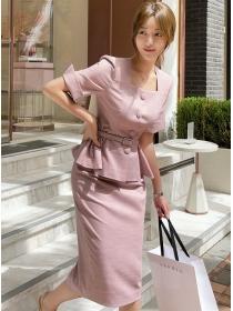 Modern OL 2 Colors Single-breasted Flouncing Slim Dress Set