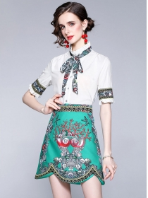 Summer New Tie Collar Flowers Two Pieces Dress Set