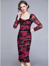Pretty Women Square Collar Flowers Gauze Slim Dress