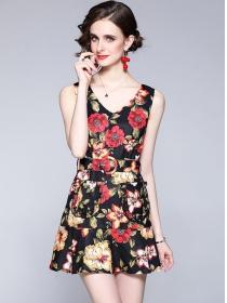 Wholesale Stylish V-neck Flowers Fishtail Tank Dress