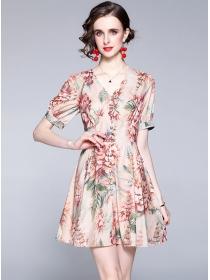 Summer Fashion Single-breasted V-neck Flowers Dress