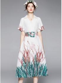 Grace Women High Waist Shirt Collar Long Dress