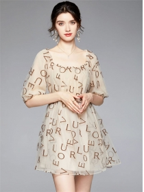 Chic Fashion Letters Embroidery Gauze Fluffy Dress
