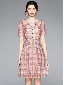 Classic Fashion Doll Collar Plaids Short Sleeve Dress