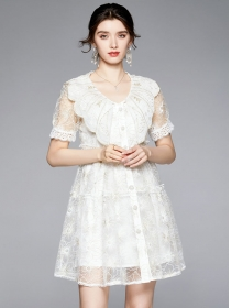 Grace Women Flowers Embroidery Doll Collar Lace Dress
