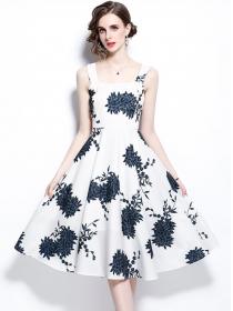 Modern Lady High Waist Flowers Straps A-line Dress