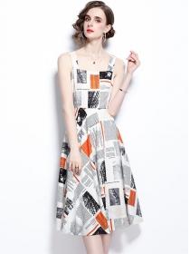 Wholesale Europe Color Block Printings Straps Dress