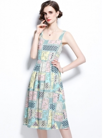 Pretty Summer High Waist Plaids Flowers Straps Dress