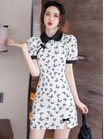 Retro Charm Doll Collar Butterfly Slim Cheongsam Dress