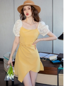Wholesale Korea Lace Puff Sleeve Pleated A-line Dress