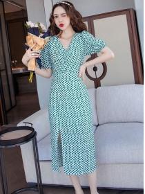 Wholesale Korea V-neck Puff Sleeve Split Dots Dress