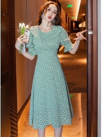 Wholesale Summer Pleated Doll Collar Flowers A-line Dress