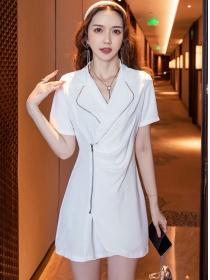 Elegant 2 Colors Tailored Collar Zipper Open Slim Dress