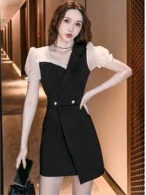 Wholesale Fashion Puff Sleeve Fitted Waist A-line Dress